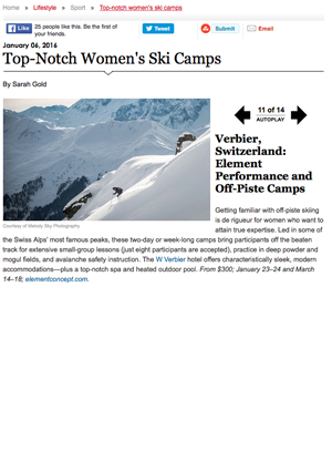 Departures article about Women's Camps in Verbier