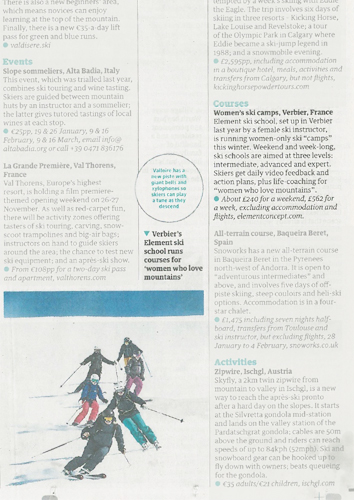 Ski school press review - Guardian article about Women's Camps