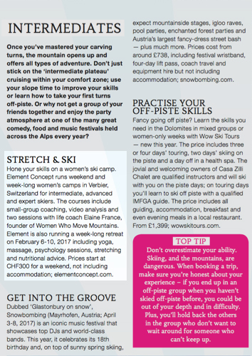Ski school article - Health and fitness Women's Camps review