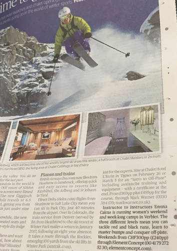 Evening Standard review of Verbier Women's Camps