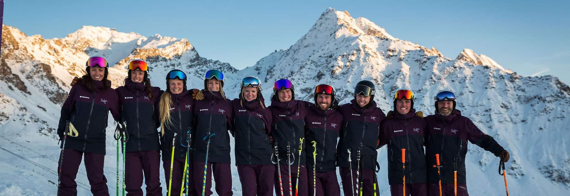 Element ski school - Team shot - Covid coronavirus cancellation policy page